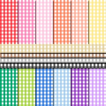 Digital Paper Background Pack Rainbow Colors Gingham Pattern