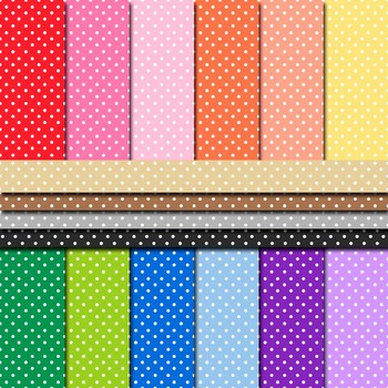Digital Paper Background Pack Rainbow Colors Polka Dot Pattern