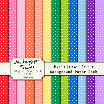 Digital Paper Background Pack Rainbow Colors Polka Dot Pattern