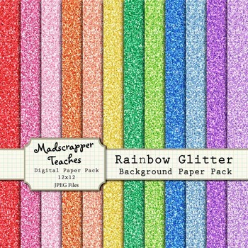 Digital Paper Background Pack Rainbow Glitter