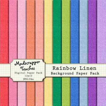 Digital Paper Background Pack Rainbow Linen