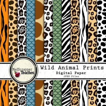 e208c4387c Digital Paper Background Pack Wild Animal Prints by Madscrapper Teaches