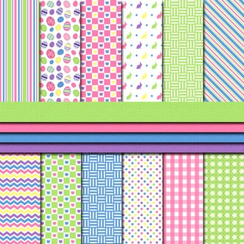 Digital Paper Background Pack and Clipart Happy Easter Bright Colors