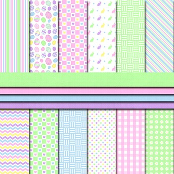Digital Paper Background Pack and Clipart Happy Easter Pas