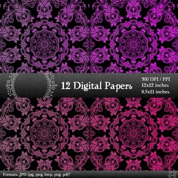 Digital Paper Background Page  12 X 12 + 8.5 X 11 Scrapbook Layout Decorative A4