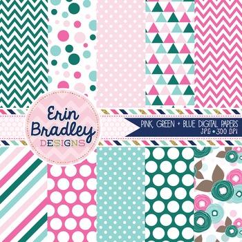 Digital Paper - Background Patterns Pink Green & Blue Graphics