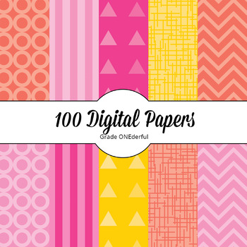 Digital Paper Backgrounds | 100 Papers | 5 colours, 10 Designs, 2 Sizes