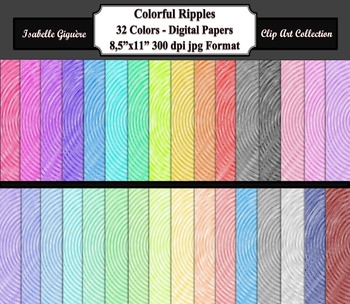 Digital Paper Backgrounds - 32 Colors Colorful Ripples (Co