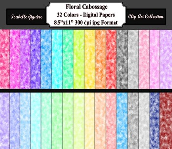 Digital Paper Backgrounds - 32 Colors Floral Cabossage (Commercial-Personal)