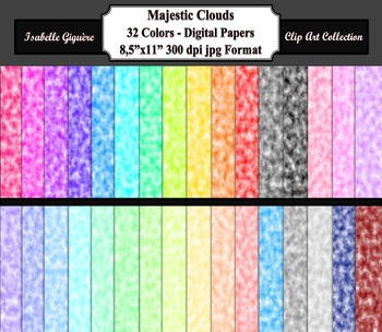 Digital Paper Backgrounds - 32 Colors Majestic Clouds (Commercial-Personal)