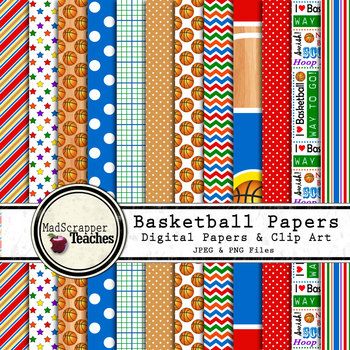 Digital Paper Backgrounds Basketball Digital Paper and Clip Art