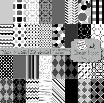 Digital Paper Backgrounds: Black & White
