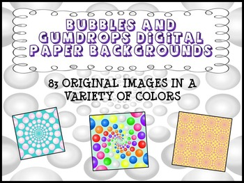 Digital Paper Backgrounds: Bubbles and Gumdrops - 83 Backgrounds