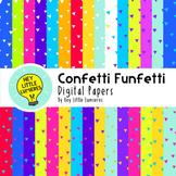 Digital Paper Backgrounds - CONFETTI FUNFETTI Brights