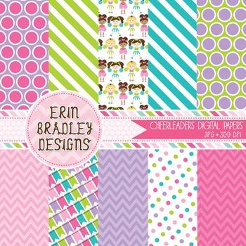 Digital Paper Backgrounds - Cheerleaders