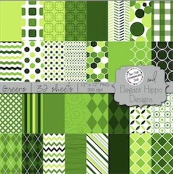 Digital Paper Backgrounds: Greens