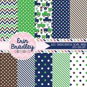 Digital Paper Backgrounds - Navy Blue Green & Brown Cars and Trucks