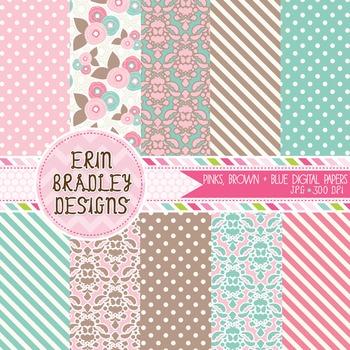 Digital Paper Backgrounds - Pink Blue & Brown