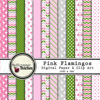 Digital Paper Backgrounds Pink Flamingos Digital Paper and Clip Art