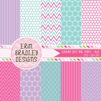 Digital Paper Backgrounds - Pink Purple Blue Polka Dots Stripes Chevron Patterns