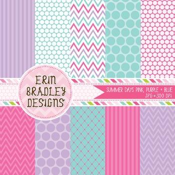 Digital Paper Backgrounds - Pink Purple Blue Polka Dots St
