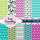 Digital Paper Backgrounds - Purple Blue Green