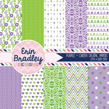 Digital Paper Backgrounds - Purple & Green