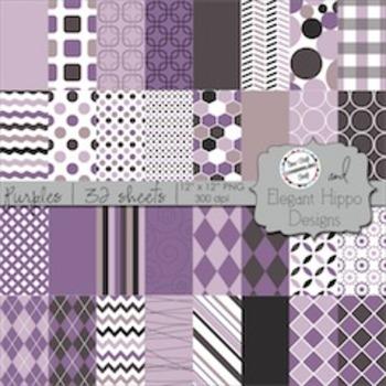 Digital Paper Backgrounds: Purples