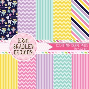 Digital Paper Backgrounds - Tooth Fairy
