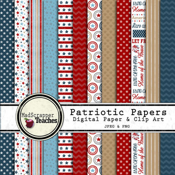 Digital Paper Backgrounds USA Patriotic Digital Paper and Clip Art