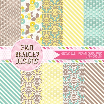 Digital Paper Backgrounds - Yellow Blue & Brown