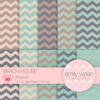 Beach House - Digital Paper - Chevron
