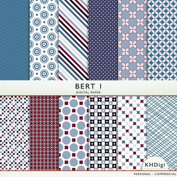 "Digital Paper - ""Bert"" - Burgundy & Blue Patterns"