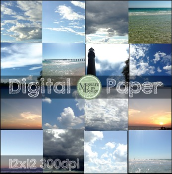 Digital Paper Skies and Water Texture Backgrounds {Messare