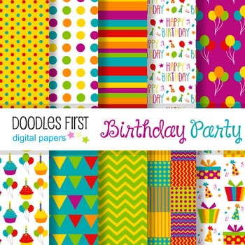 Digital Paper - Birthday Party great for Classroom art projects