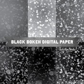 Digital Paper - Black Bokeh