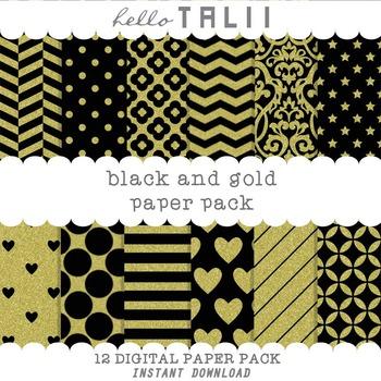 Digital Paper: Black and Gold Patterns