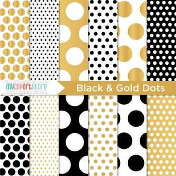 Digital Paper - Black and Gold (foil) Polka Dots