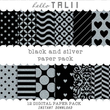 Digital Paper: Black and Silver Paper