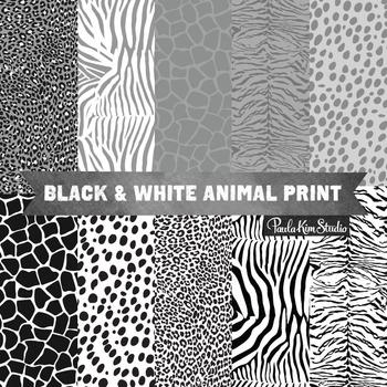 Digital Paper - Black and White Animal Patterns