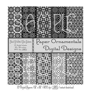 Digital Paper:  Black and White Design Set 1