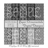 Digital Paper:  Black and White Design Set 1