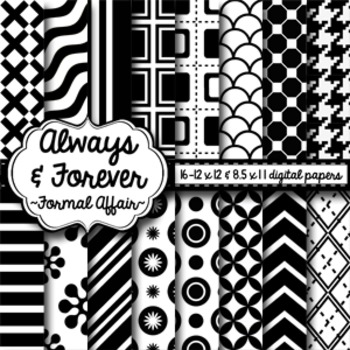 Digital Paper Black and White Formal Affair