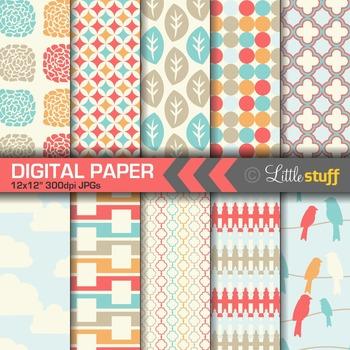 Digital Paper, Blue & Coral Digital Backgrounds, Birds, Flowers, Clouds