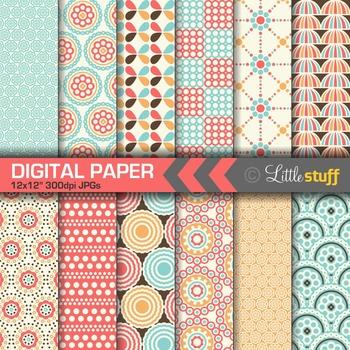 Digital Paper, Blue & Coral Digital Backgrounds, Tropical Umbrellas