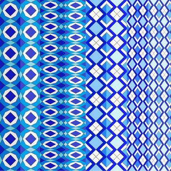 Digital Paper - Blue Geometric Patterns