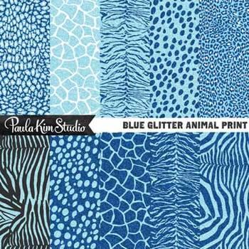 Digital Paper - Blue Glitter Animal Print