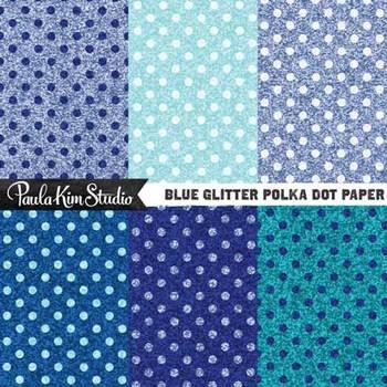 Digital Paper - Blue Glitter Polka Dots
