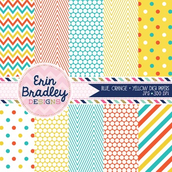 Digital Paper - Blue Orange Yellow