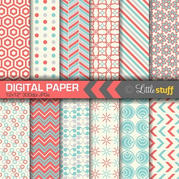 Digital Paper, Blue and Coral Digital Backgrounds, Geometric Patterns